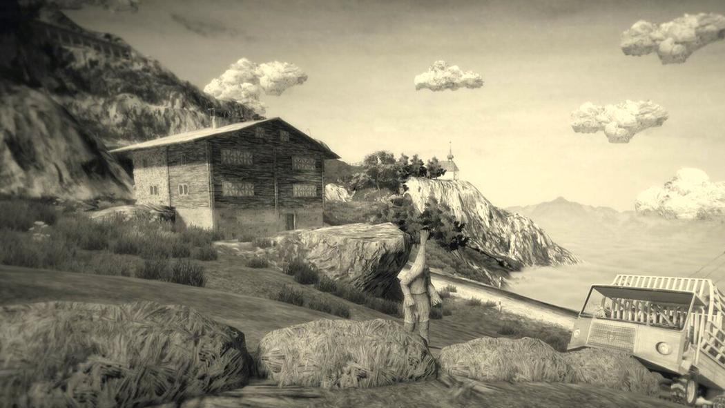 Screenshot aus Mundaun. Zu sehen sind unter anderem ein Schweizer Chalet, eine Kapelle, und ein Heulader