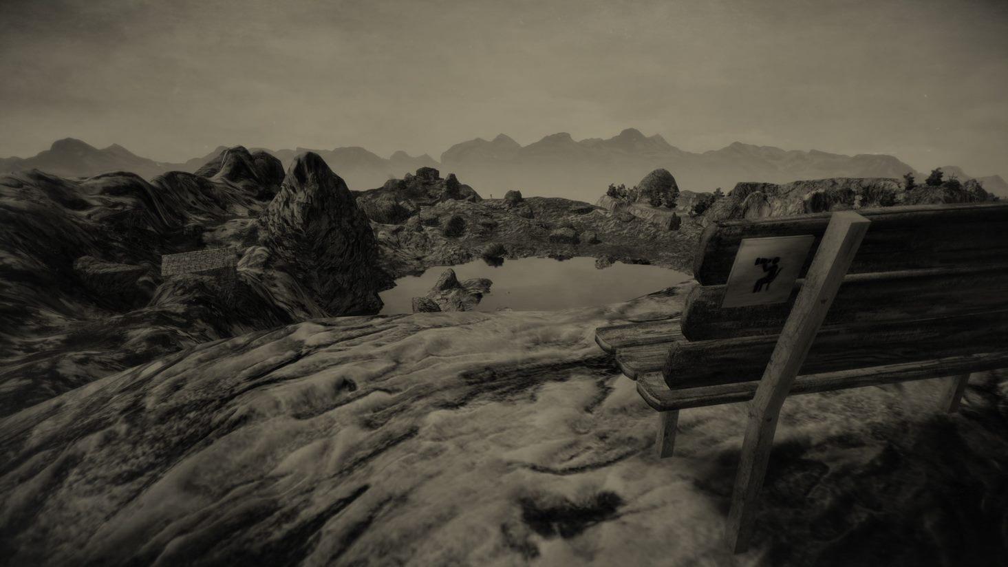 Ein Screenshot aus Mundaun. Zu sehen ist ein Alpenpanorama und eine Sitzbank