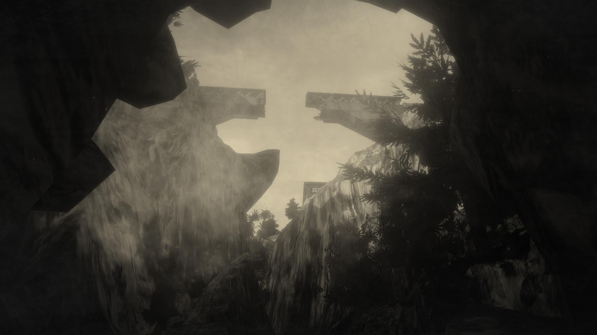 Ein Screenshout aus Mundaun. Zu sehen ist eine Brücke, die aus einer Felsspalte heraus beobachtet wird