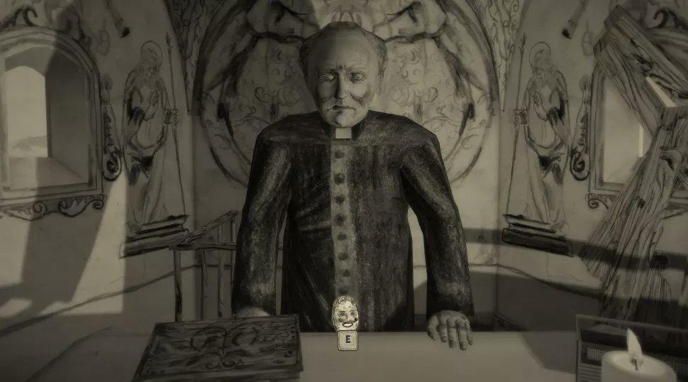 Ein Screenshot aus Mundaun. Zu sehen ist ein Priester, der am Altar einer Kapelle steht
