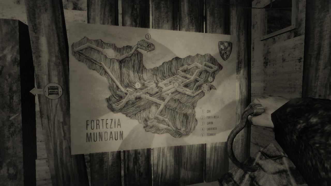 Ein Screenshot aus Mundaun. Zu sehen ist die Karte einer Bergfestung, die das Spiel-Pendant zum Schweizerischen Reduit ist