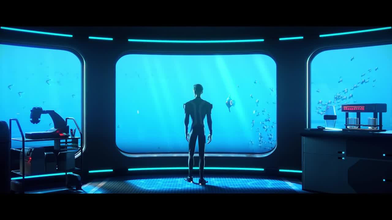 A still image from the Subnautica cinematic trailer